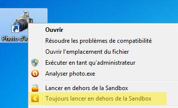 Désactivation du lancement dans la Sandbox via un clic droit sur l'icône de Photo d'identité