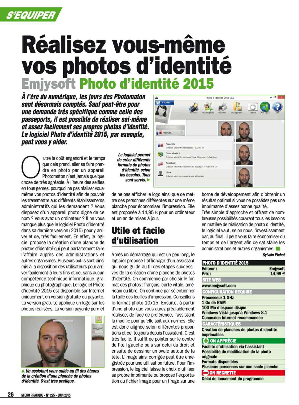 Article Photo d'identité Micro Pratique